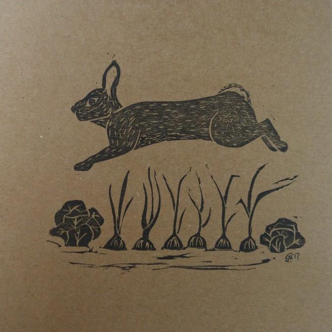 bunny linoprint